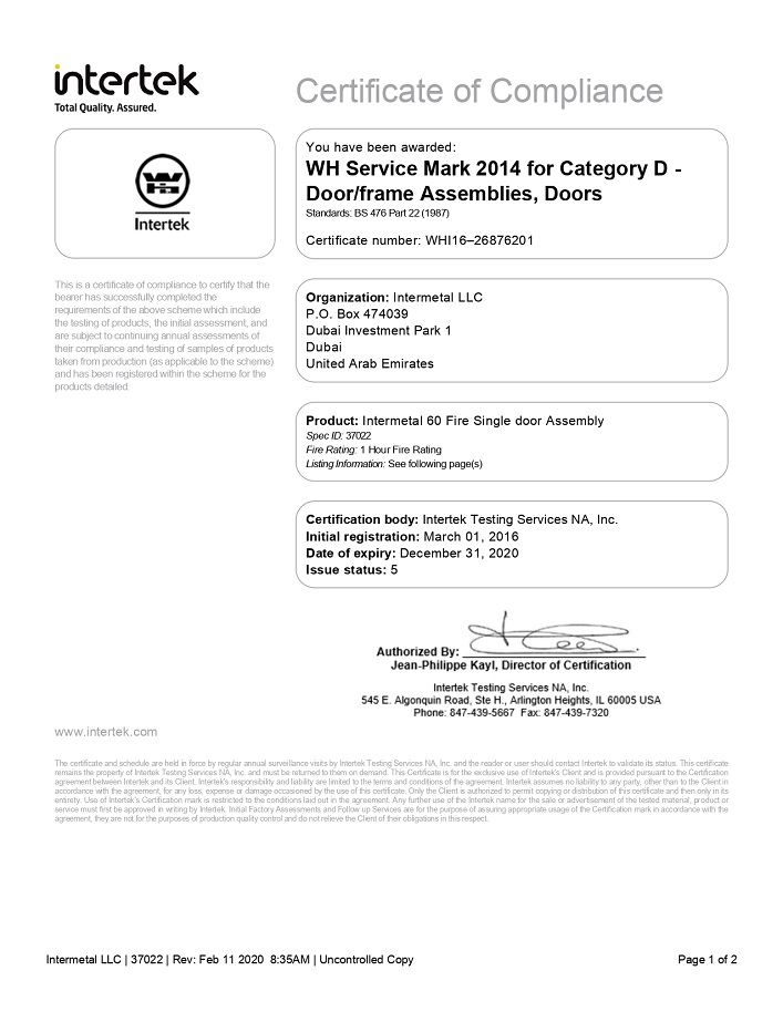 WHI16 – 226876201-Certificate-of-Compliance